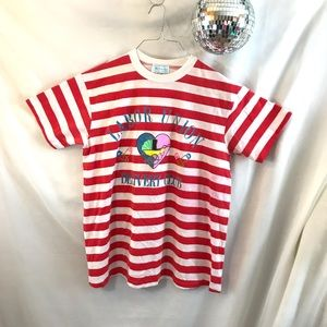 Vintage 90's Maternity Striped Labor Union T-shirt
